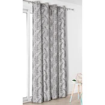 rideau a oeillets aux motifs palmes polyester gris anthracite 250x145 maisons du monde