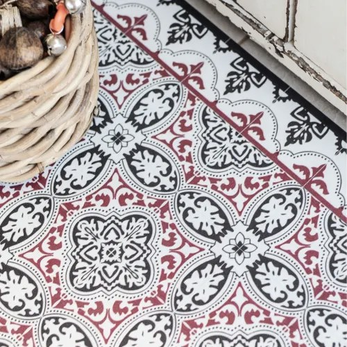 tapis en vinyle motifs carreaux de ciment rouge 70x180 maisons du monde