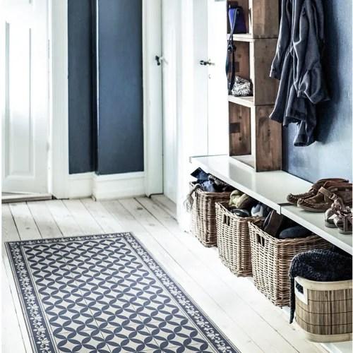 tapis en vinyle motifs carreaux de ciment bleu 70x120 maisons du monde