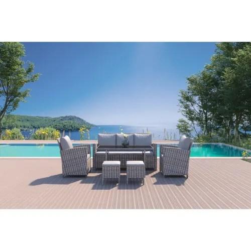 https www maisonsdumonde com fr fr p salon de jardin 7 places en resine tressee gris clair modena m20013089 htm