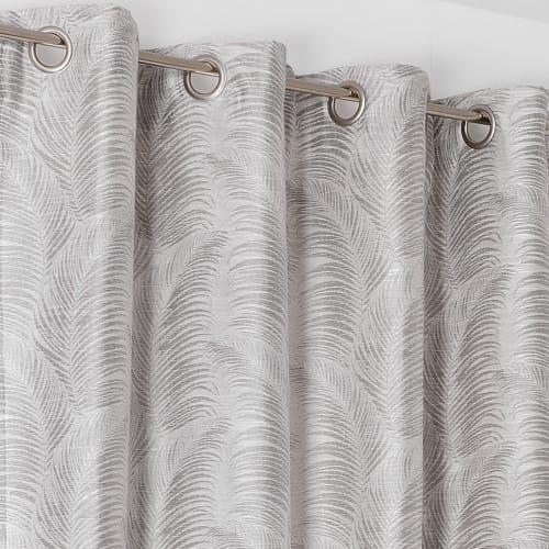 rideau a oeillets aux motifs palmes polyester gris clair 250x145 maisons du monde