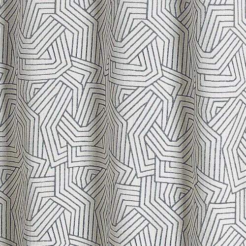 rideau tamisant a motifs geometriques jacquard navy 260x140 maisons du monde
