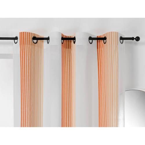 voilage imprime a rayures verticales colorees polyester orange 280x145 maisons du monde