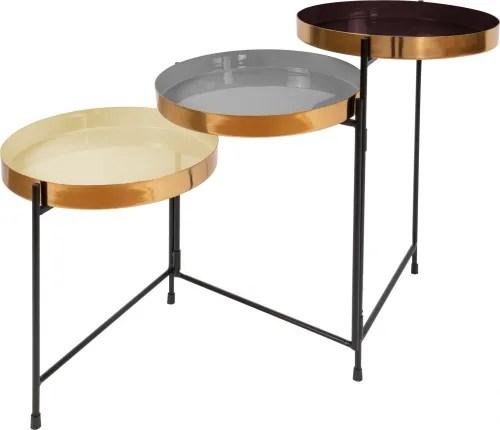 table d appoint gigogne 3 plateaux dores multicolore maisons du monde