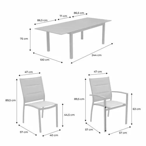 ensemble table extensible et chaises 8 places blanc taupe maisons du monde