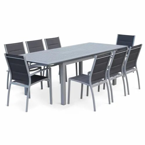 ensemble table extensible et chaises 8 places anthracite maisons du monde