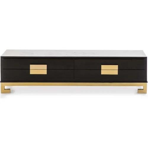 meuble tv en bois noir et ferrure doree l161cm h45cm maisons du monde