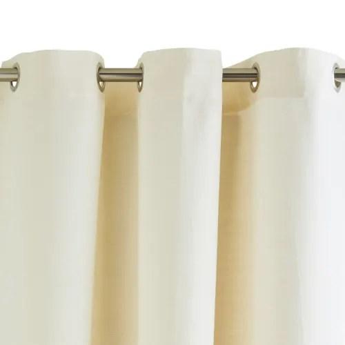 rideau a oeillets 145x285 cm blanc et jaune maisons du monde