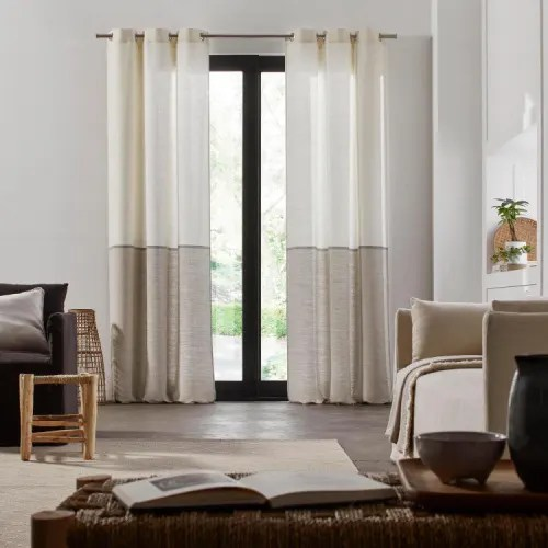 rideau a oeillets 145x285 cm blanc et gris maisons du monde