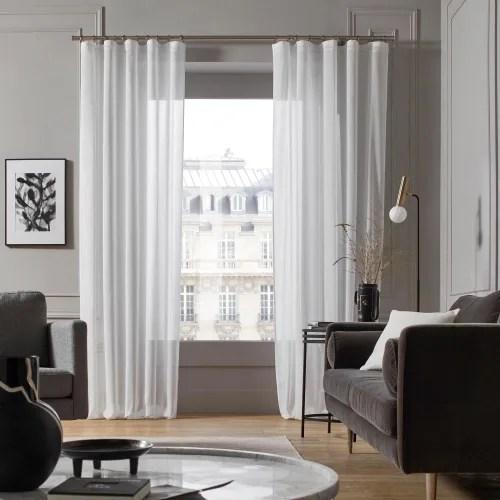 voilage a galon fronceur 200x280 cm blanc maisons du monde