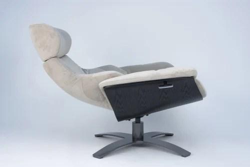 fauteuil relax velours beige et chene noir maisons du monde