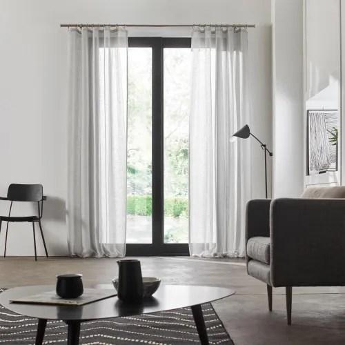 voilage a galon fronceur 145x350 cm gris clair maisons du monde