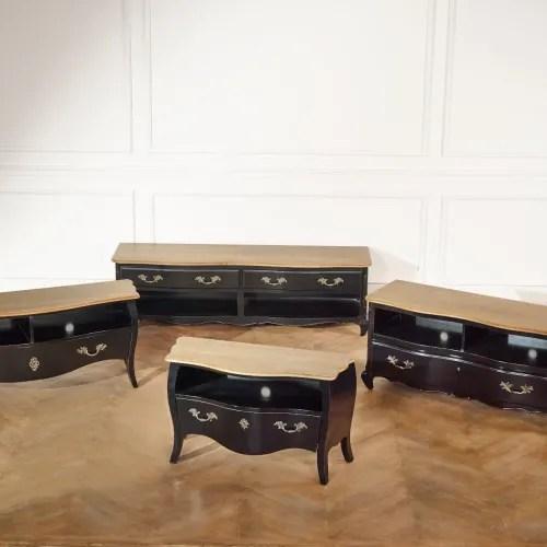 meuble tv plateau chene 2 niches 1 tiroir laque noir maisons du monde