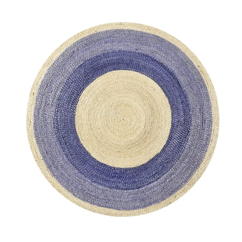 tapis rond en jute tressee naturelle et bleu pour chambre salon d100 maisons du monde