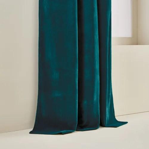 rideau a oeillets dores 137x350 cm bleu turquoise fonce maisons du monde