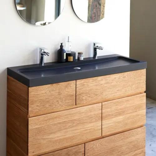 meuble salle de bain en chene massif et pierre de lave 120 maisons du monde