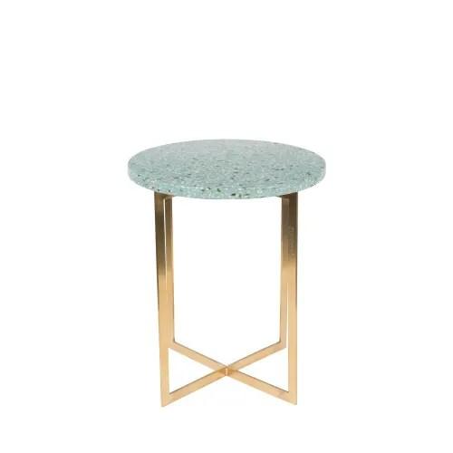 luigi table d appoint ronde en metal et terrazzo o40cm turquoise maisons du monde