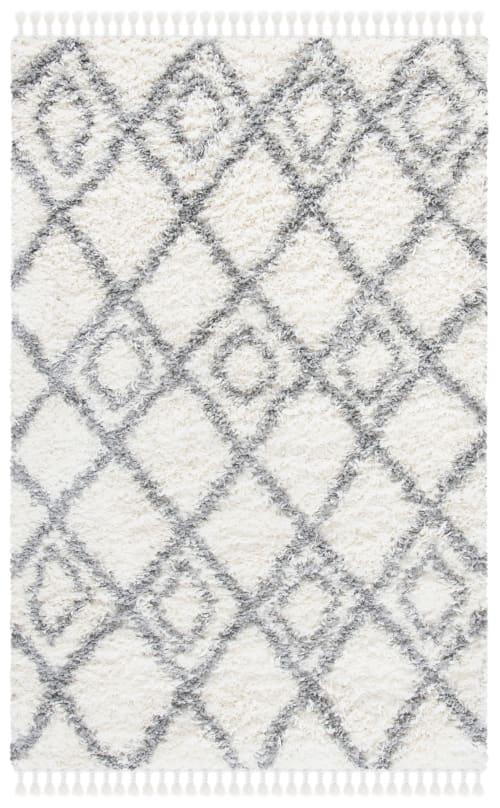 tapis de salon shaggy ivoire et gris clair 160x228 maisons du monde