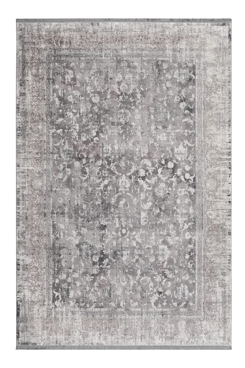 tapis tisse fin vintage beige gris pour salon chambre 170x120 maisons du monde