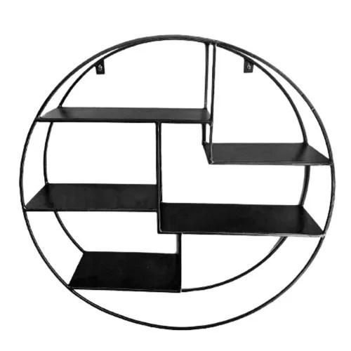 uptown etagere murale ronde en metal filaire finition noire maisons du monde