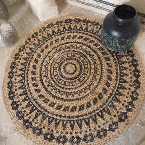 https www maisonsdumonde com fr fr p tapis rond reversible en jute noir d 120 moka m21000656 htm