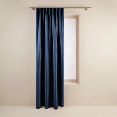 rideau a ruban fronceur 145x280 cm bleu nuit maisons du monde