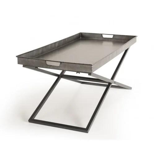 table basse plateau zinc pieds croises metal maisons du monde