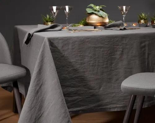 nappe carree gris anthracite en lin 170x170 maisons du monde
