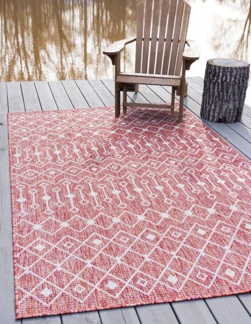 tapis exterieur polypropylene rouge 160x230 maisons du monde
