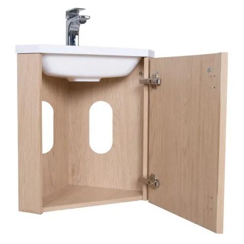 meuble lave mains d angle effet bois clair maisons du monde