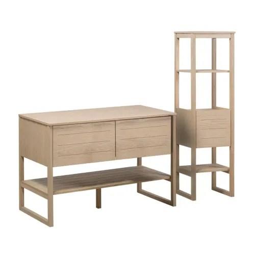 meuble de salle de bain avec colonne effet bois clair maisons du monde