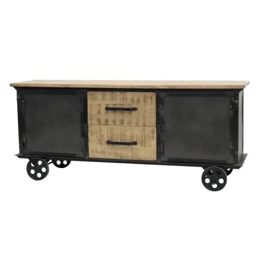 meuble tele industriel en bois manguier massif et fer maisons du monde