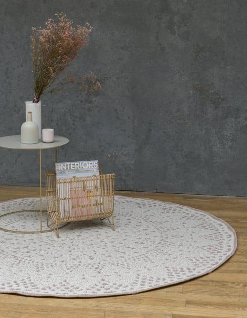 tapis rond crochet rose 160x160 maisons du monde