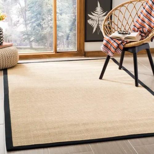 tapis de salon fibres naturelles beige et noir 91x152 maisons du monde