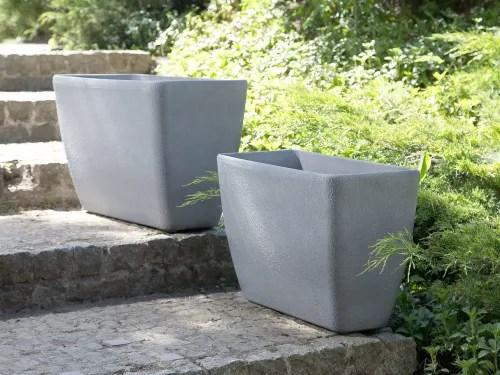 long cache pot rectangulaire en pierre grise maisons du monde