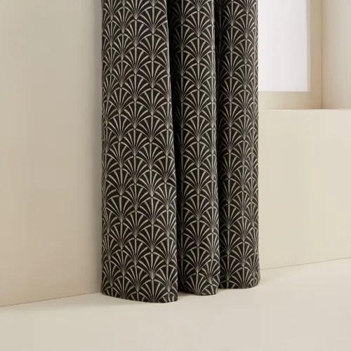 rideau a oeillets noirs double 137x280 cm noir et argent maisons du monde