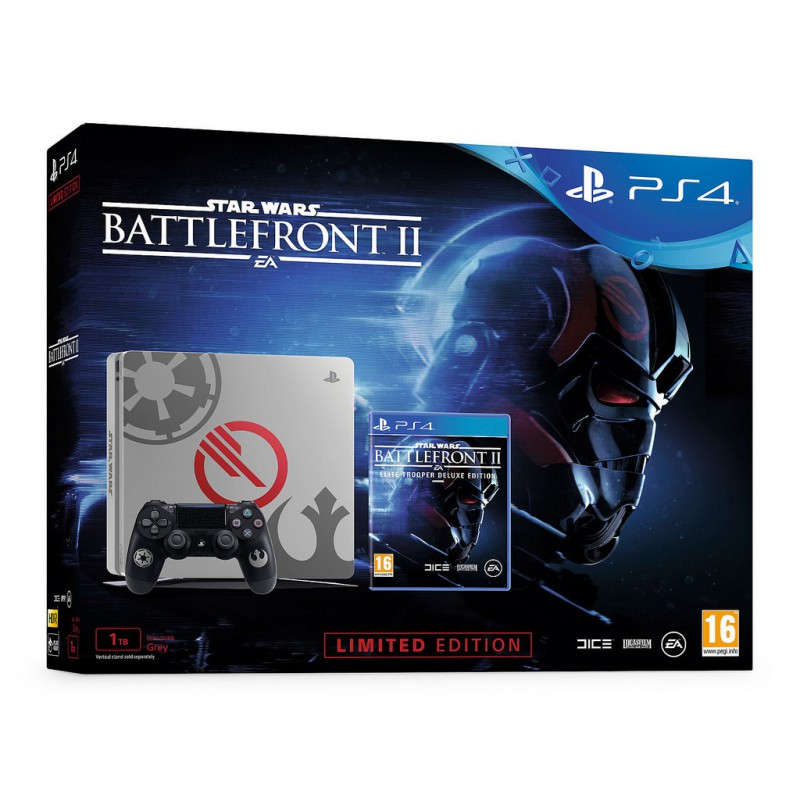 PACK PS4 SLIM 1TO GRISE + STAR WARS BF II DELUXE EDITION