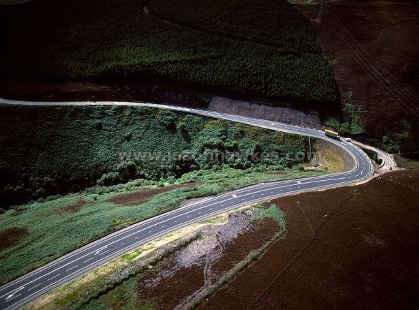 Aerial View. Hairpin bend on coastal road, Scotland ...