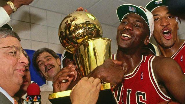 NBA Finals Larry O'Brien Trophy of Michael Jordan in The Last Dance |  Spotern