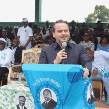 Ali Bongo Ondimba dans le Haut-Ogooué le 25 août.