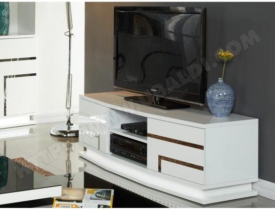 vente unique meuble tv luminescence mdf laque blanc et leds ma 82ca487meub xkjvt