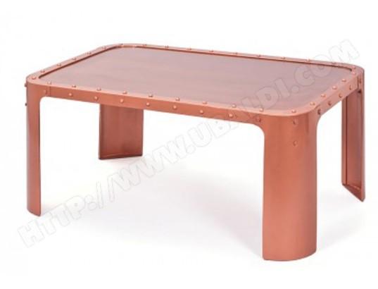 pegane table basse coloris cuivre en metal 110 x 70 x 45 cm pegane ma 82ca182tabl 2866t