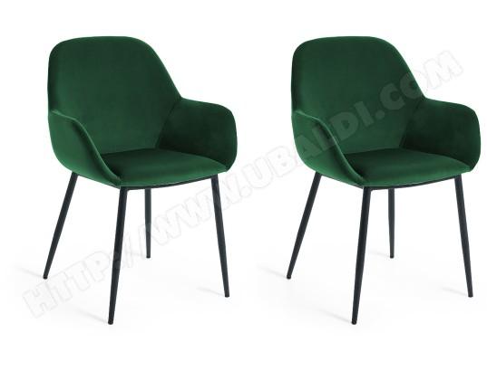 lf chaise lot de 2 chaises konna en velours vert