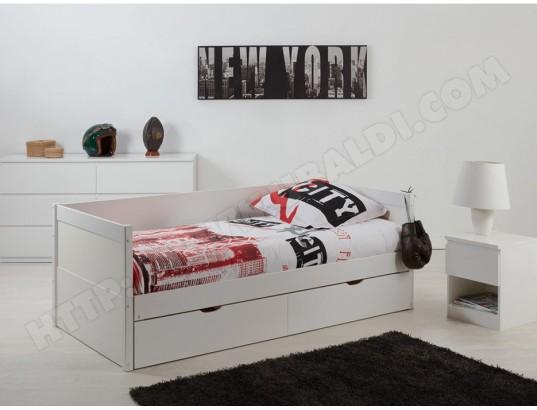 vente unique lit gigogne banquette alfiero avec rangements 90 190cm laque blanc ma 82ca190litg aaxhk