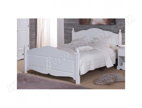 beaux meubles pas chers lit blanc 2 places 140 x 190 de style anglais 40140