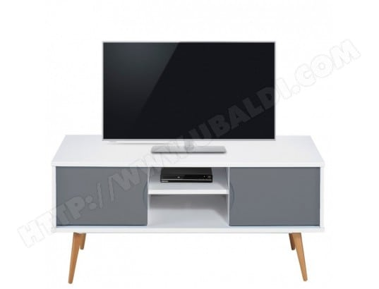 beaux meubles pas chers meuble tv blanc gris 2 portes 4 pieds chene vintage 9314bg