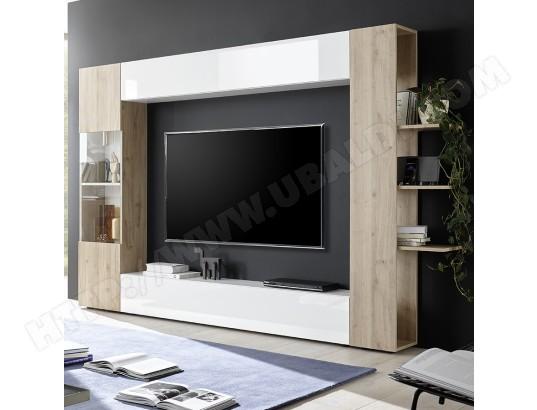 nouvomeuble meuble tv mural blanc et chene moderne fino 3 ma 82ca487meub 347b1