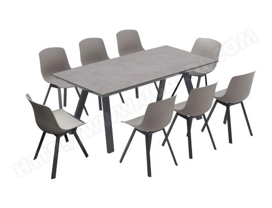 tbd salon de jardin scandinave 1 table plateau ceramique 8 chaises ma 78ca281salo cbdsj