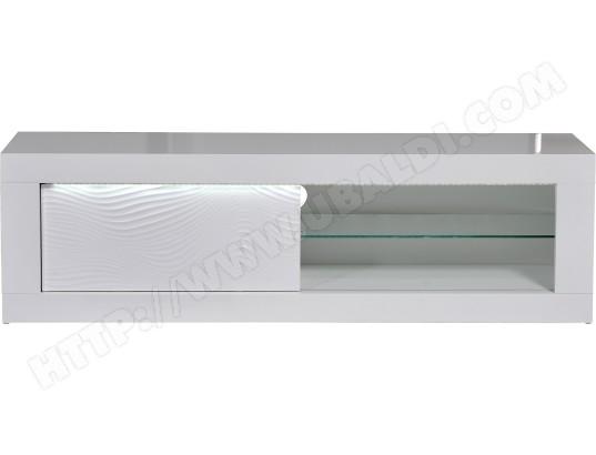 sciae meuble tv karma blanc 170 cm 1 porte avec eclairage