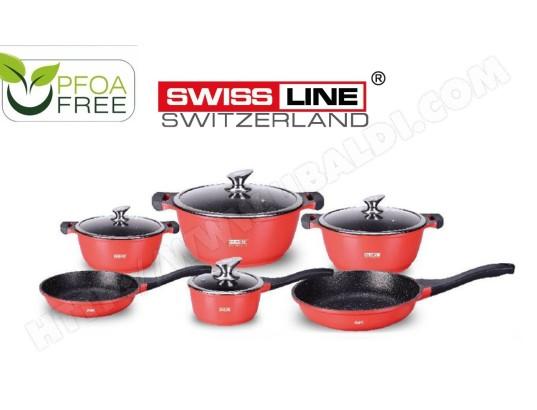 swiss line professionnel batterie cuisine induction tous types feux cuisson revetement marbre 10 pieces rouge ma 93ca211prof 3zbn4